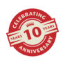 Stamp or label with the text Celebrating 10 years anniversary, vector illustration